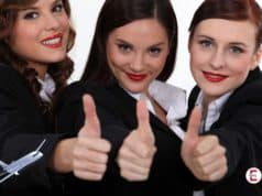 The three young stewardesses – together not even 75 years old
